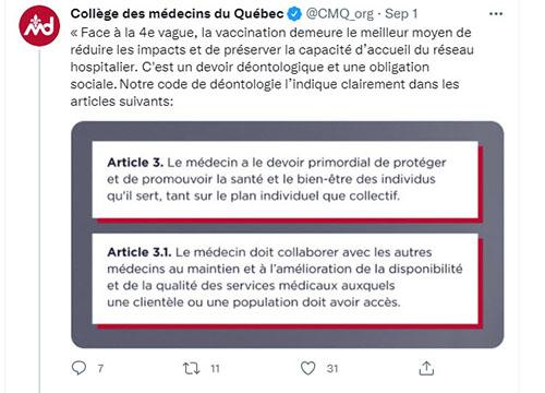 Tweet du CMQ sur la vaccination obligatoire du personnel de la santé