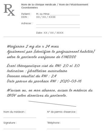 Exemple 2 d'ordonnance individuelle